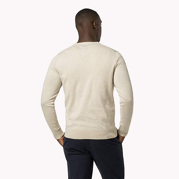 TOMMY HILFIGER Luxury Cotton Crew Neck Jumper - MONUMENT HEATHER - TOMMY HILFIGER Clothing - detail image 1