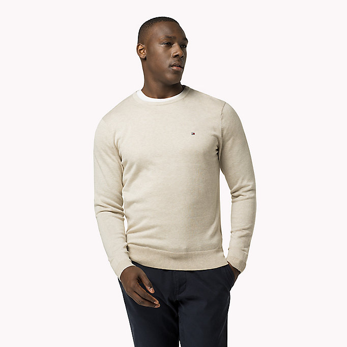 TOMMY HILFIGER Luxury Cotton Crew Neck Jumper - MONUMENT HEATHER - TOMMY HILFIGER Clothing - main image