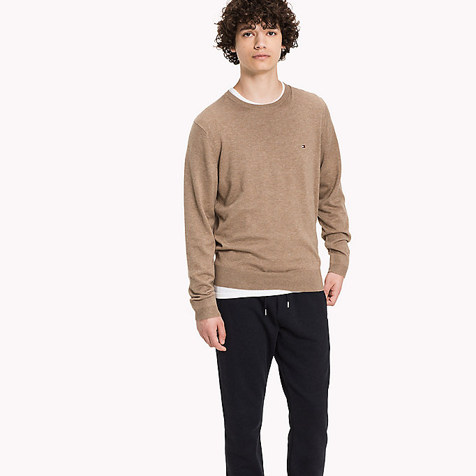 TOMMY HILFIGER Luxury Cotton Crew Neck Jumper - HAUTE RED HEATHER - TOMMY HILFIGER Clothing - main image