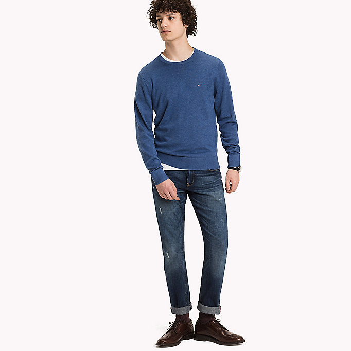 TOMMY HILFIGER Luxury Cotton Crew Neck Jumper - MARITIME BLUE HEATHER - TOMMY HILFIGER Clothing - main image
