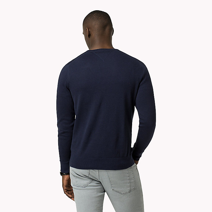 TOMMY HILFIGER Luxury Cotton Crew Neck Jumper - SILVER LINING HEATHER - TOMMY HILFIGER Clothing - detail image 1