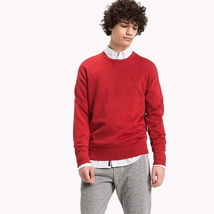 TOMMY HILFIGER Luxury Cotton Crew Neck Jumper - PONDEROSA PINE HEATHER - TOMMY HILFIGER Clothing - main image