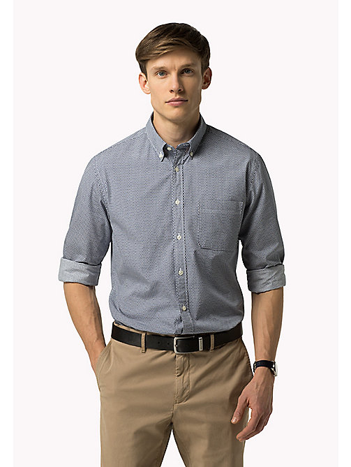 TOMMY HILFIGER Fitted Poplin Printed Shirt - BRIGHT WHITE / BLUE DEPTHS - TOMMY HILFIGER Shirts - main image