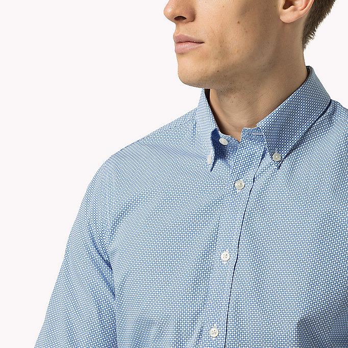 TOMMY HILFIGER Slim Fit Poplin Printed Shirt - MEDITERRANEA / BRIGHT WHITE - TOMMY HILFIGER Clothing - detail image 3