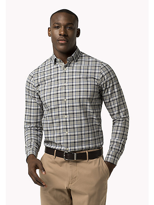 TOMMY HILFIGER Slim Fit Poplin Check Shirt - CLOUD HTR / MARITIME BLUE / MULTI - TOMMY HILFIGER Clothing - main image