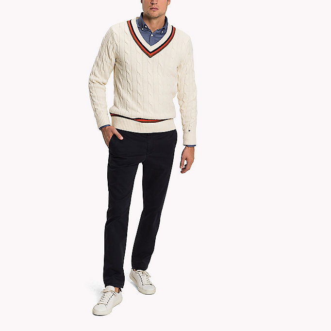 TOMMY HILFIGER Pima Cotton Straight Fit Chinos - BONE WHITE - TOMMY HILFIGER Clothing - detail image 3
