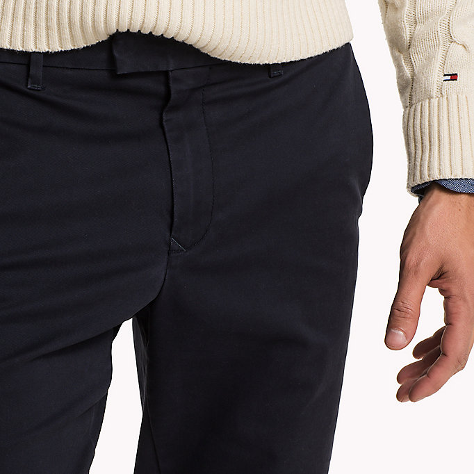 TOMMY HILFIGER Pima Cotton Straight Fit Chinos - BONE WHITE - TOMMY HILFIGER Clothing - detail image 4