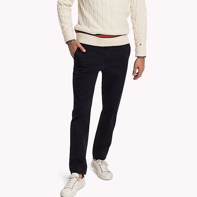 TOMMY HILFIGER Pima Cotton Straight Fit Chinos - BONE WHITE - TOMMY HILFIGER Clothing - main image
