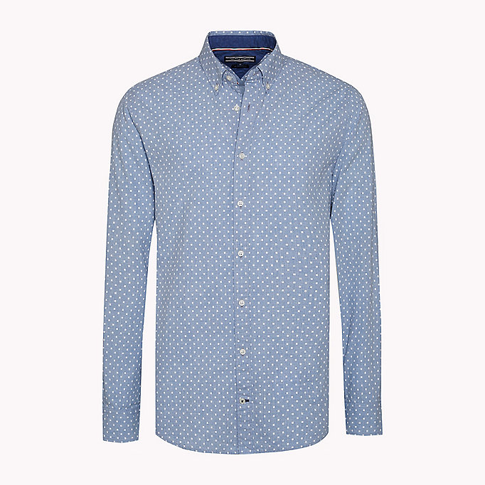 TOMMY HILFIGER Fitted Poplin Printed Shirt - BLUE DEPTHS / BRIGHT WHITE - TOMMY HILFIGER Clothing - detail image 1