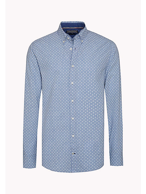 TOMMY HILFIGER Fitted Poplin Printed Shirt - SHIRT BLUE HTR / BRIGHT WHITE - TOMMY HILFIGER Shirts - detail image 1