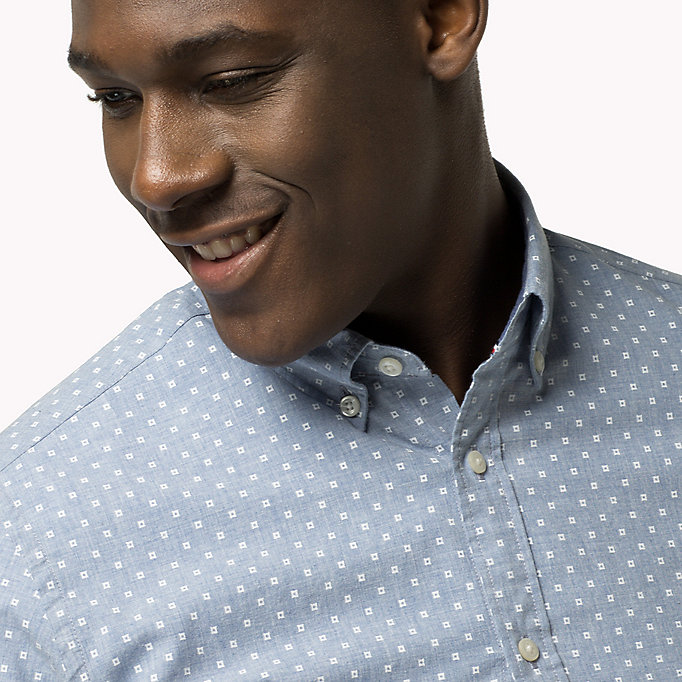TOMMY HILFIGER Fitted Poplin Printed Shirt - BLUE DEPTHS / BRIGHT WHITE - TOMMY HILFIGER Clothing - detail image 3