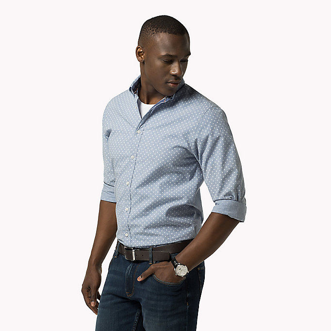TOMMY HILFIGER Fitted Poplin Printed Shirt - BLUE DEPTHS / BRIGHT WHITE - TOMMY HILFIGER Clothing - main image