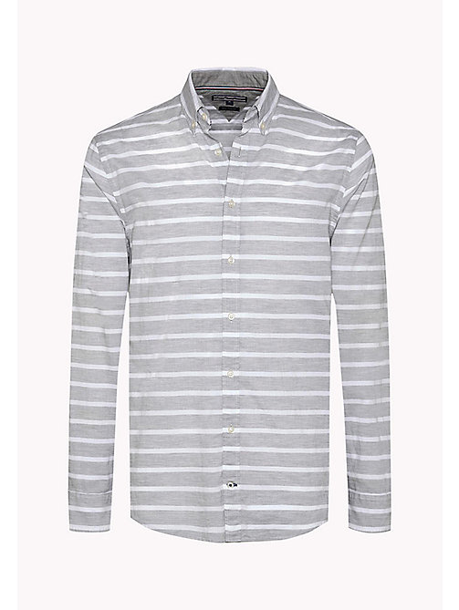 TOMMY HILFIGER Striped Poplin Fitted Shirt - CLOUD HTR / BRIGHT WHITE - TOMMY HILFIGER Clothing - detail image 1