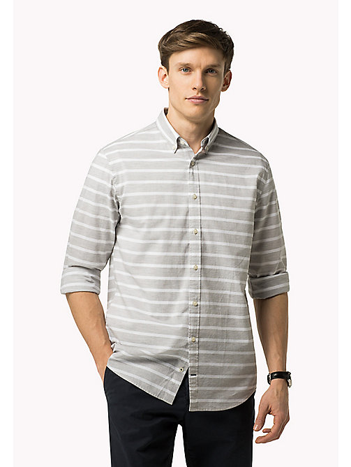 TOMMY HILFIGER Striped Poplin Fitted Shirt - CLOUD HTR / BRIGHT WHITE - TOMMY HILFIGER Clothing - main image