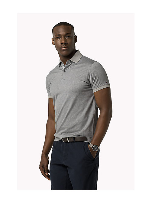 TOMMY HILFIGER Mercerized Slim Fit Polo - CLOUD HTR / MARITIME BLUE - TOMMY HILFIGER Clothing - main image