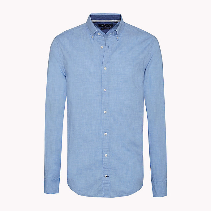 TOMMY HILFIGER Fitted poplin overhemd - MARITIME BLUE HEATHER - TOMMY HILFIGER Kleding - detail image 1