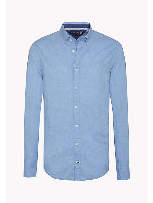 TOMMY HILFIGER Fitted Poplin Shirt - SHIRT BLUE HEATHER - TOMMY HILFIGER Shirts - detail image 1