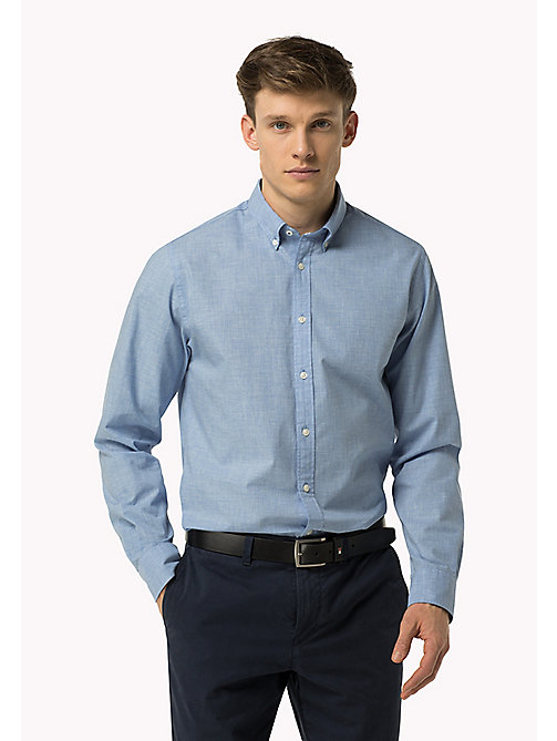 TOMMY HILFIGER Fitted Poplin Shirt - SHIRT BLUE HEATHER - TOMMY HILFIGER Shirts - main image