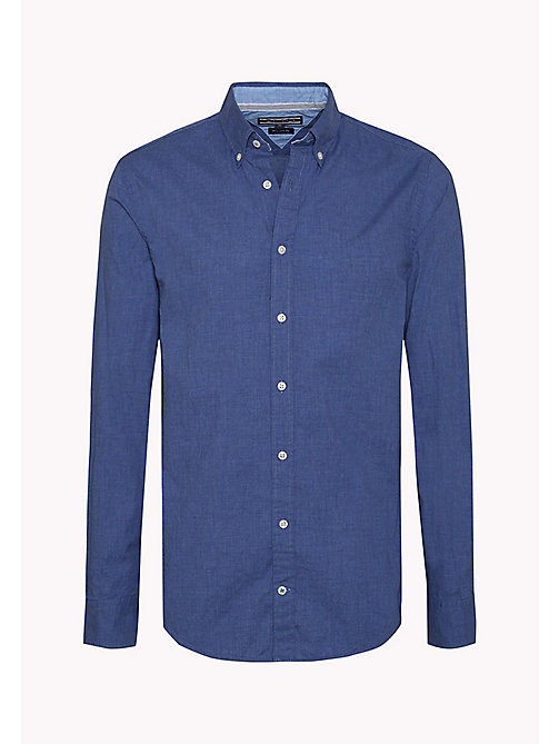 TOMMY HILFIGER Fitted Poplin Shirt - MARITIME BLUE HEATHER - TOMMY HILFIGER Shirts - detail image 1