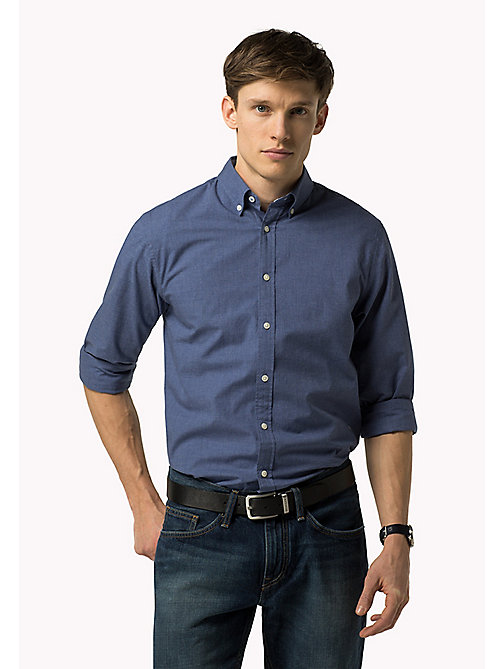 TOMMY HILFIGER Fitted Poplin Shirt - MARITIME BLUE HEATHER - TOMMY HILFIGER Shirts - main image