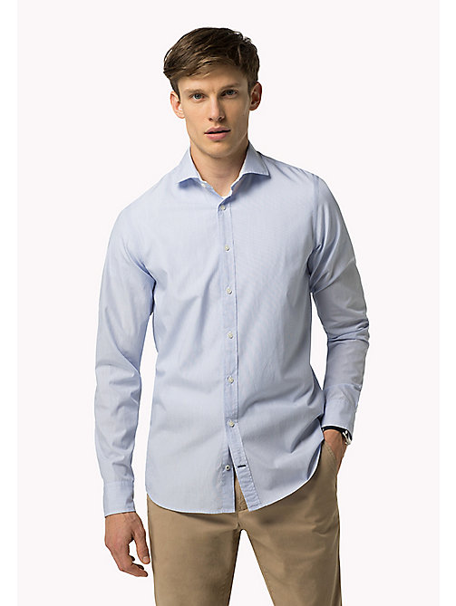 TOMMY HILFIGER Slim Fit Poplin Striped Shirt - BRIGHT WHITE / ESTATE BLUE - TOMMY HILFIGER Shirts - main image