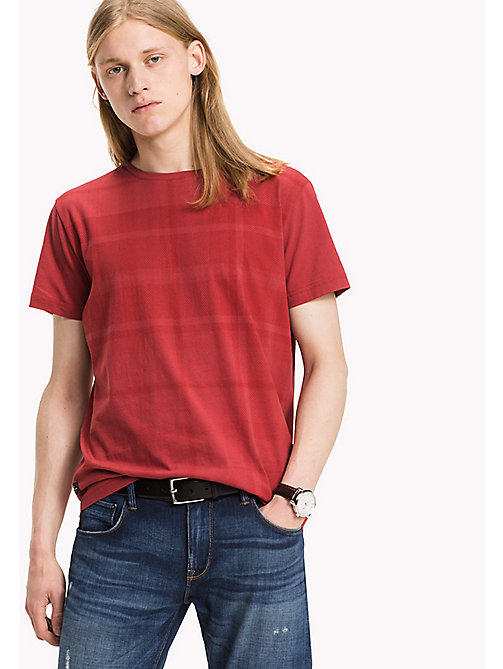 TOMMY HILFIGER Tartan-T-Shirt in Ton-in-Ton - RIO RED - TOMMY HILFIGER T-Shirts - main image