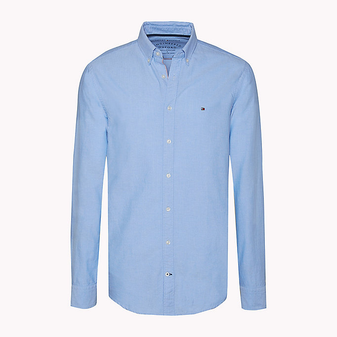 TOMMY HILFIGER Fitted Oxford Shirt - ESTATE BLUE - TOMMY HILFIGER Clothing - detail image 1
