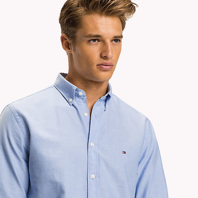 TOMMY HILFIGER Fitted Oxford Shirt - ESTATE BLUE - TOMMY HILFIGER Clothing - detail image 4