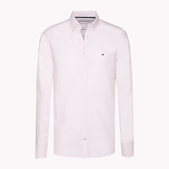 TOMMY HILFIGER Fitted Oxford Shirt - BRIGHT WHITE - TOMMY HILFIGER Clothing - detail image 1