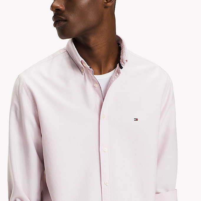 TOMMY HILFIGER Fitted Oxford Shirt - BRIGHT WHITE - TOMMY HILFIGER Clothing - detail image 4
