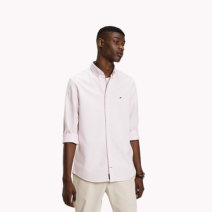 TOMMY HILFIGER Fitted Oxford Shirt - BRIGHT WHITE - TOMMY HILFIGER Clothing - main image