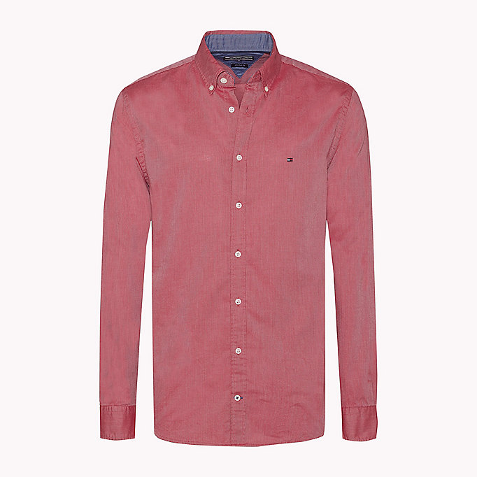 TOMMY HILFIGER Fitted Dobby Shirt - JUNE BUG - TOMMY HILFIGER Clothing - detail image 1