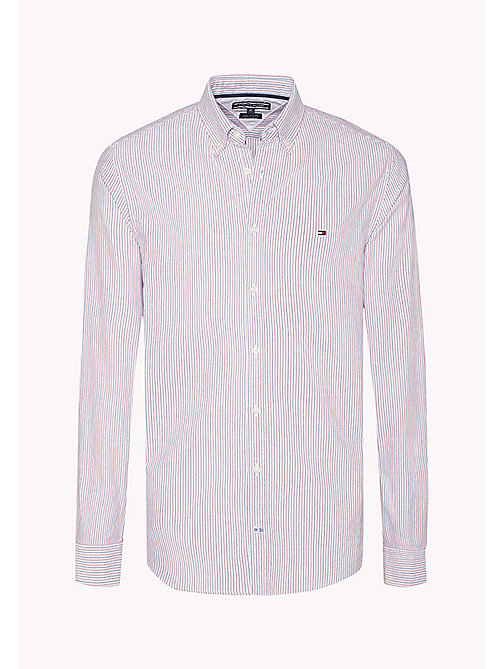 TOMMY HILFIGER Striped Fitted Shirt - ESTATE BLUE / HAUTE RED / BW - TOMMY HILFIGER Shirts - detail image 1