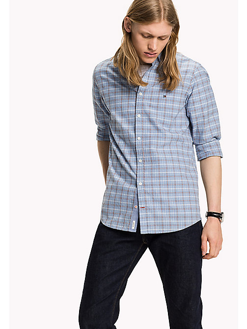 TOMMY HILFIGER Checked Slim Fit Shirt - SHIRT BLUE / PUREED PUMPKIN - TOMMY HILFIGER Clothing - main image