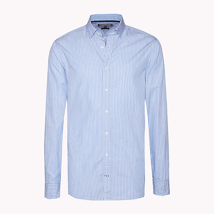 TOMMY HILFIGER Fitted Striped Shirt - ESTATE BLUE / BRIGHT WHITE - TOMMY HILFIGER Clothing - detail image 1
