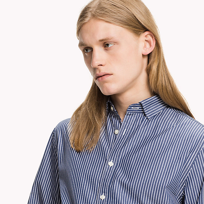 TOMMY HILFIGER Fitted Striped Shirt - CLOUD HTR / BRIGHT WHITE - TOMMY HILFIGER Clothing - detail image 4