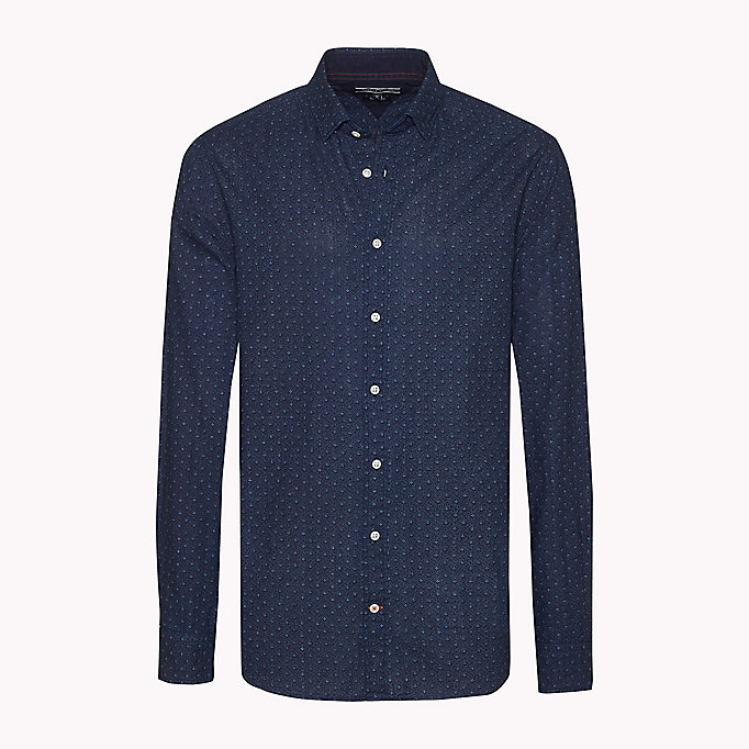 TOMMY HILFIGER Cotton Printed Shirt - INDIGO / PUREED PUMPKIN - TOMMY HILFIGER Clothing - detail image 1