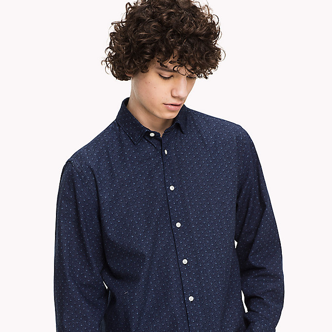 TOMMY HILFIGER Cotton Printed Shirt - INDIGO / PUREED PUMPKIN - TOMMY HILFIGER Clothing - detail image 4