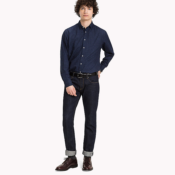 TOMMY HILFIGER Cotton Printed Shirt - INDIGO / PUREED PUMPKIN - TOMMY HILFIGER Clothing - main image