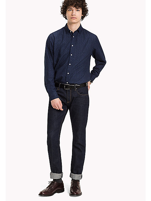 TOMMY HILFIGER Cotton Printed Shirt - INDIGO / SNOW WHITE - TOMMY HILFIGER Shirts - main image