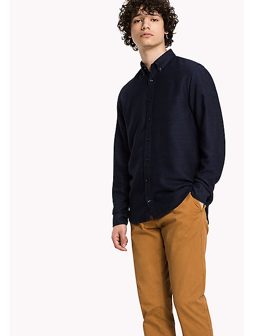 TOMMY HILFIGER Slim Fit Dobby Shirt - DARK INDIGO - TOMMY HILFIGER Shirts - main image