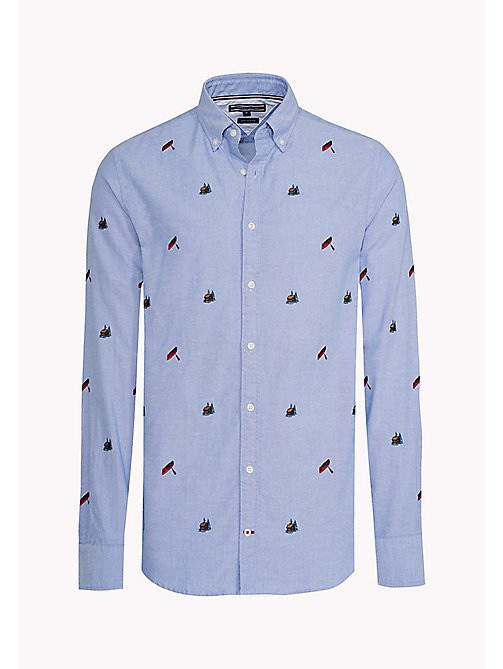 TOMMY HILFIGER Embroidered Fitted Shirt - SHIRT BLUE / MULTI - TOMMY HILFIGER Shirts - detail image 1