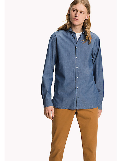 TOMMY HILFIGER Chambray Fitted Shirt - LIGHT INDIGO - TOMMY HILFIGER Shirts - main image