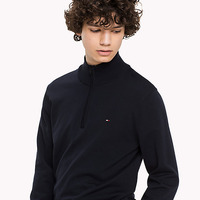 TOMMY HILFIGER Mock Neck Jumper - DARKEST SPRUCE - TOMMY HILFIGER Clothing - detail image 2