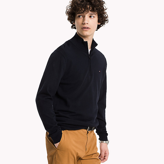 TOMMY HILFIGER Mock Neck Jumper - DARKEST SPRUCE - TOMMY HILFIGER Clothing - main image