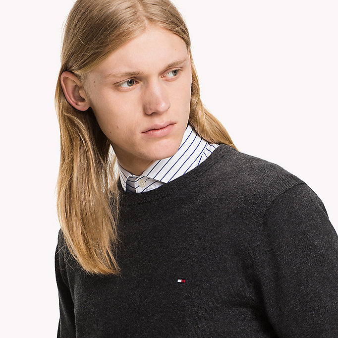 TOMMY HILFIGER Pima Cotton Cashmere Jumper - DARKEST SPRUCE HEATHER - TOMMY HILFIGER Clothing - detail image 2