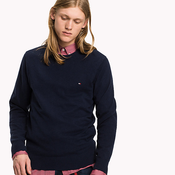 TOMMY HILFIGER Pima Cotton Cashmere Jumper - MONUMENT HEATHER - TOMMY HILFIGER Clothing - detail image 2
