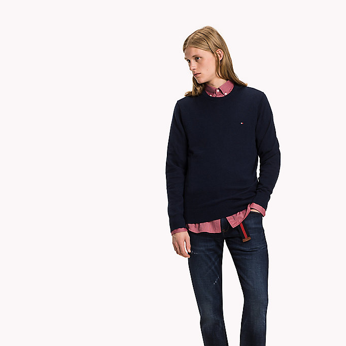 TOMMY HILFIGER Pima Cotton Cashmere Jumper - MONUMENT HEATHER - TOMMY HILFIGER Clothing - main image