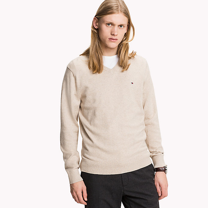 TOMMY HILFIGER Pima Cotton Cashmere Jumper - CHARCOAL HTR - TOMMY HILFIGER Clothing - main image