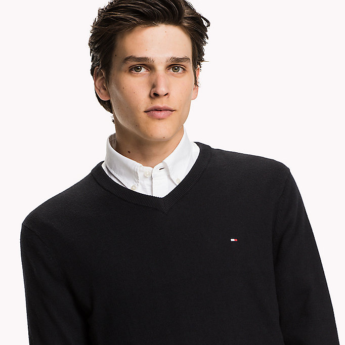 TOMMY HILFIGER Pima Cotton Cashmere Jumper - OYSTER GREY HTR - TOMMY HILFIGER Clothing - detail image 2